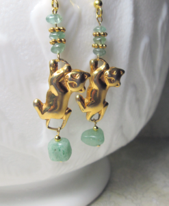 aquamarine cat earrings